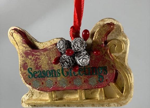 Holiday Shop - Seasons Greetings Sleigh Ornament