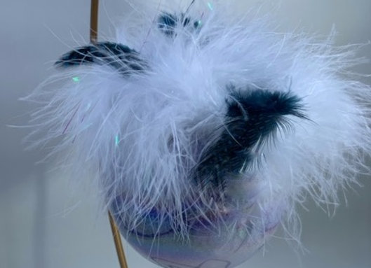 Holiday Shop - Mercury White/Teal Feathers Ornament