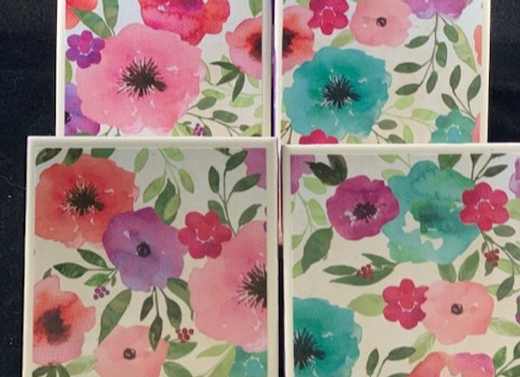 Tile Coasters - Flower Garden