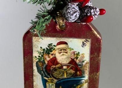 Holiday Shop - Blue Car Santa Ornament