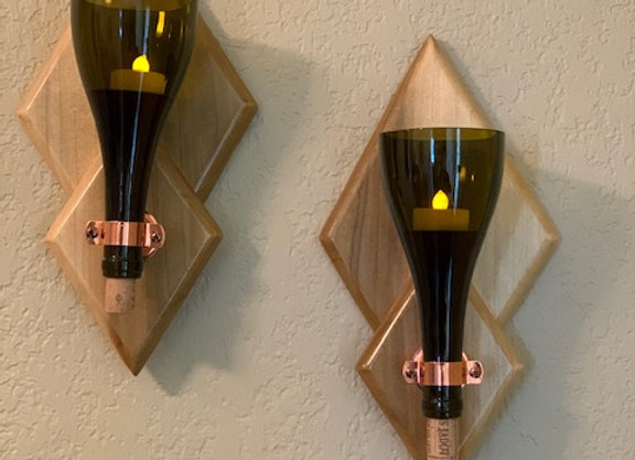 WIne Bottle Art - Red Wine Sconces on Hickory