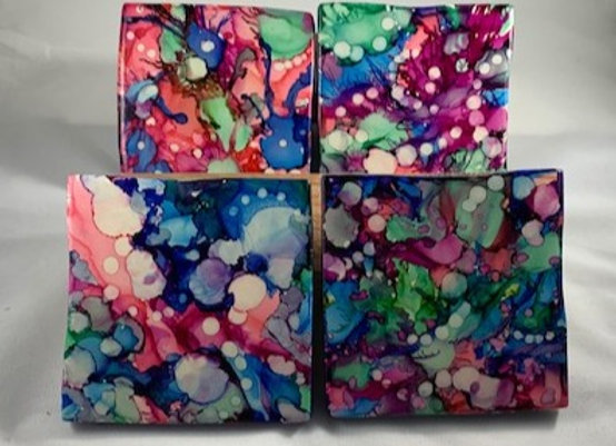 Tile Coasters - Alcohol Inks Pansy Garden