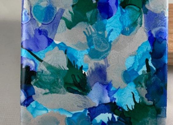 Tile Coasters - Alcohol Inks Seaweed