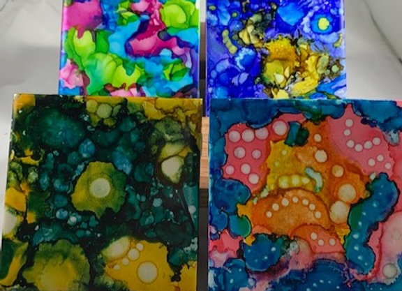 Tile Coasters - Alcohol Inks Multiple Personality
