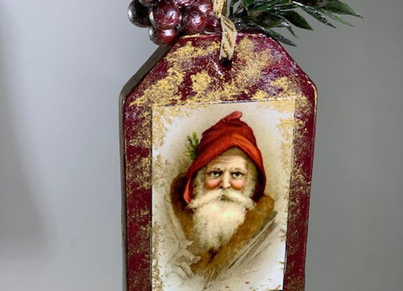 Holiday Shop - Red/Gold Santa Face Ornament