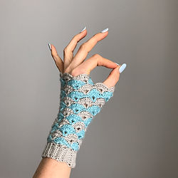 Shell We Dance? crochet fingerless gloves by Pony McTate