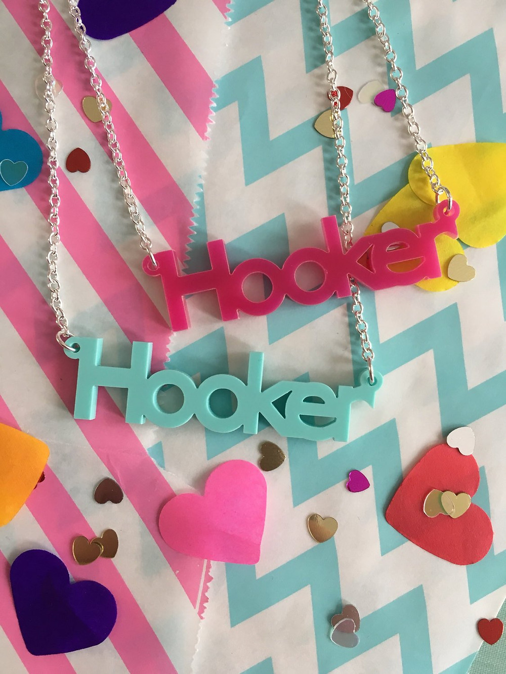 Acrylic hooker crochet necklaces by @lanaboushop