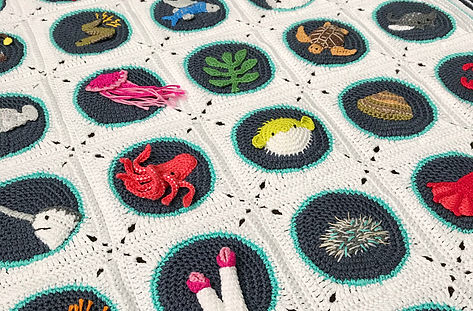 Close up of A-B-Sea crochet blanket
