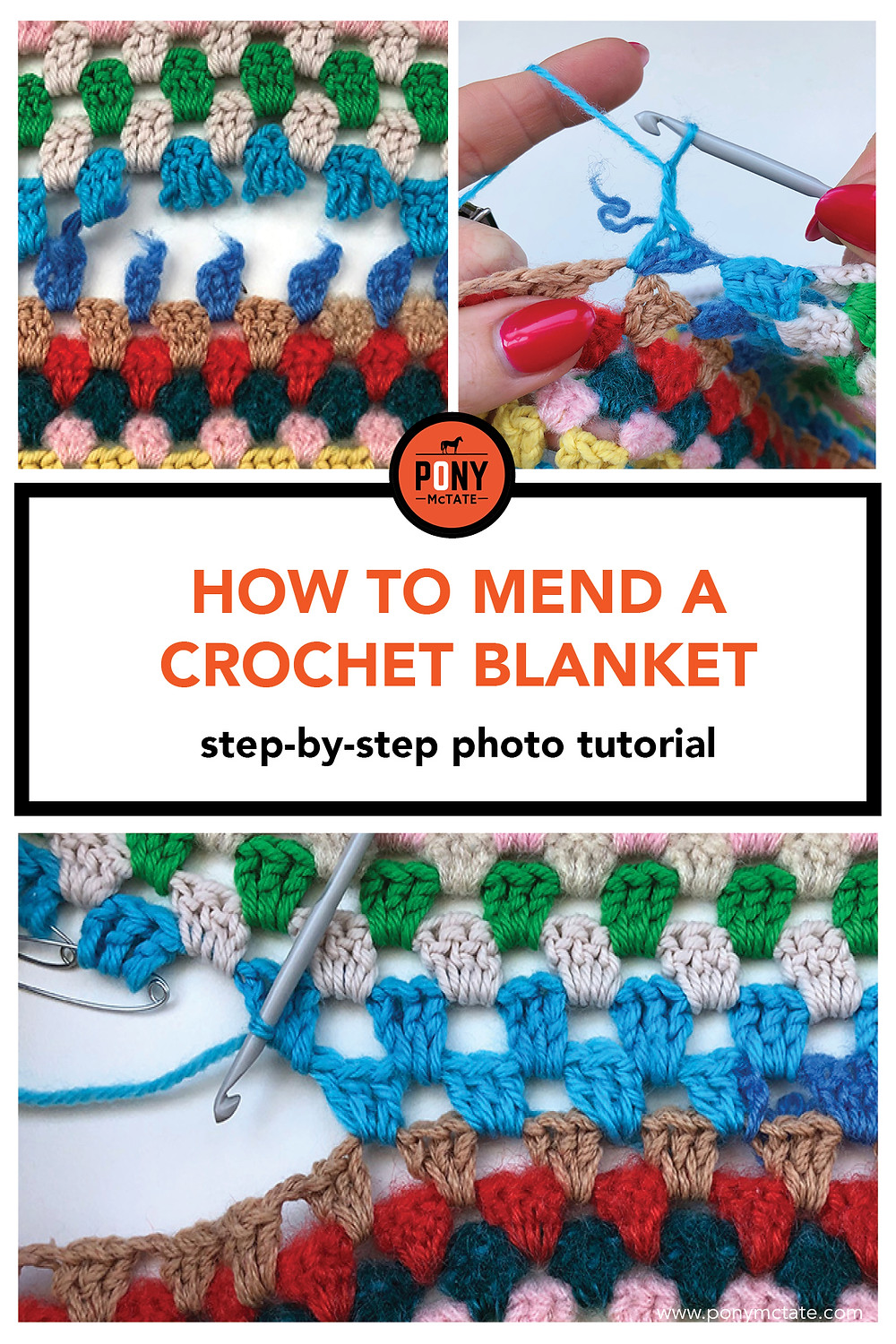 How to mend a crochet blanket // photo tutorial // Pony McTate