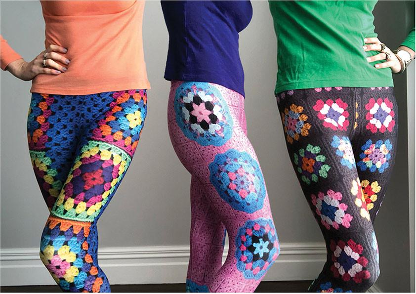 Pony McTate in Snapdragon Brand crochet print leggings