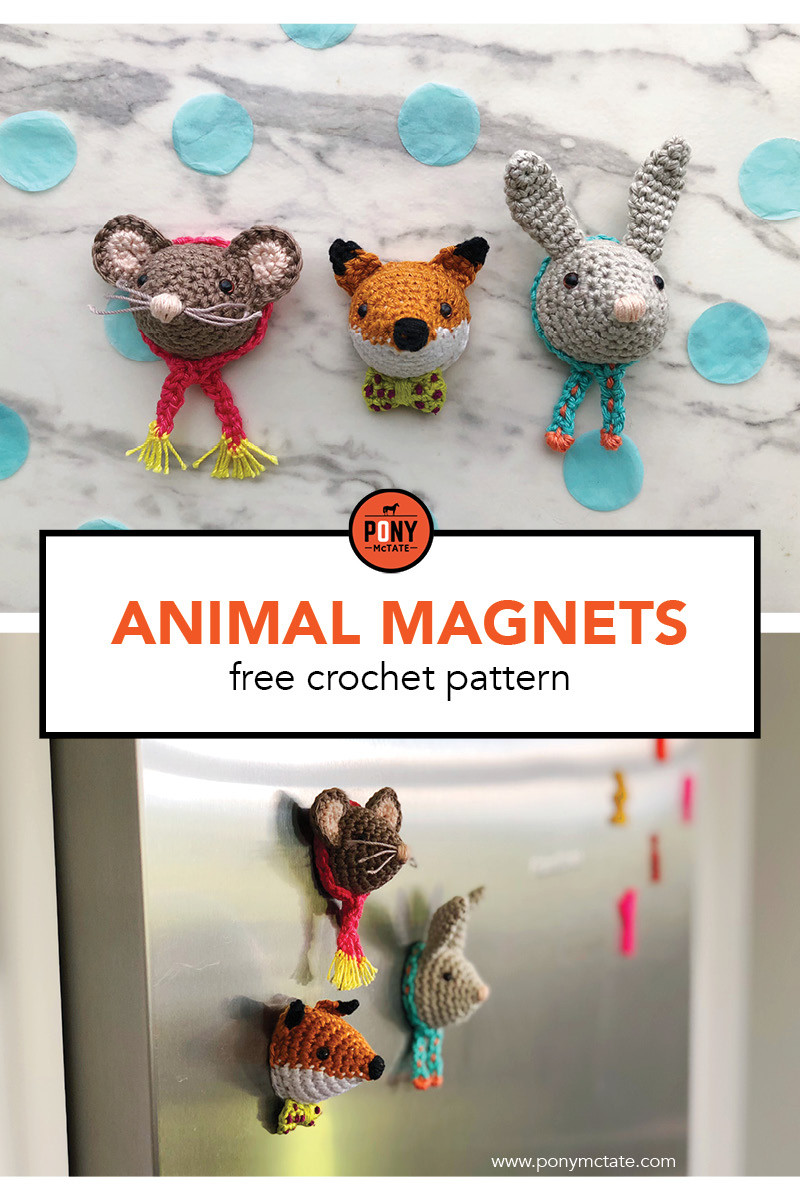 Cute animal magnets, free crochet pattern by Pony McTate