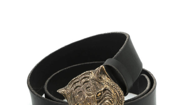 Feline Buckle Leather Belt