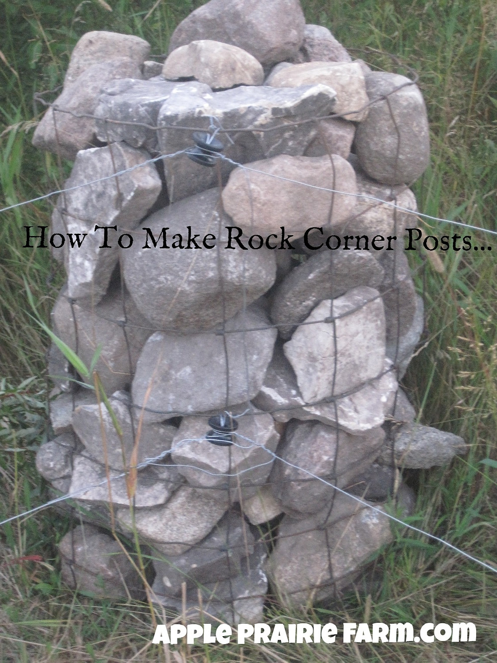 Rock corner post, apple prairie farm