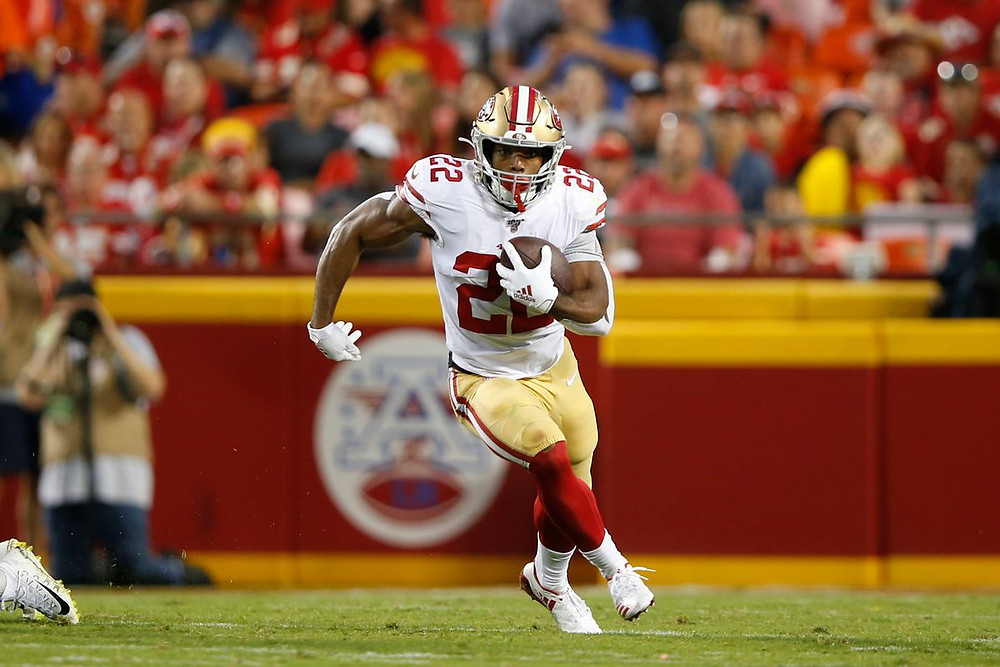 San Francisco 49ers running back Matt Breida rushes during the game against the Kansas City Chiefs at Arrowhead Stadium on August 24, 2019 in Kansas City, Missouri.