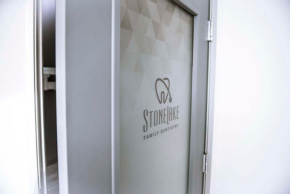 Stonelake Family Dentistry door frosted decal with print.jpeg