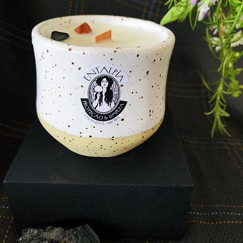 Biovela na cerâmica Caldeirão - limpeza e proteção energética