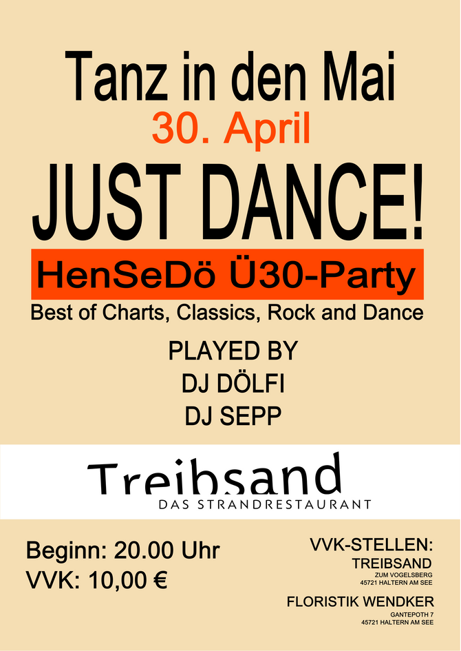 Just dance - ü30 Party - Tanz in den Mai 30.April 2017