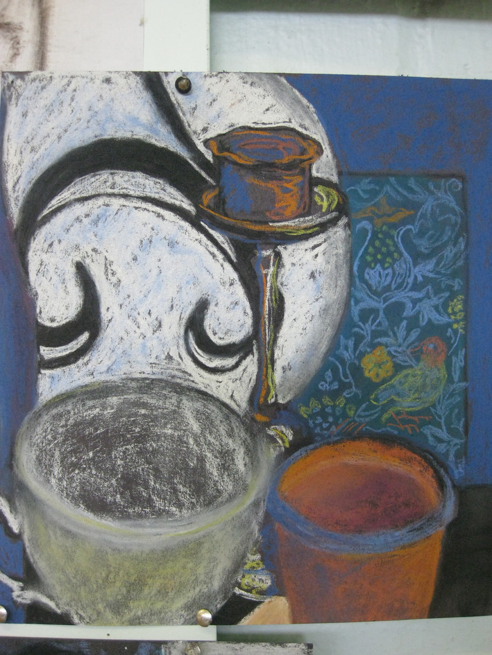 Still life pastel drawing