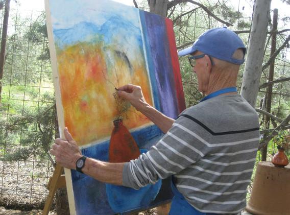 Painting in the studio garden