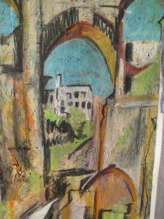 Painting of Puente Nuevo, Ronda