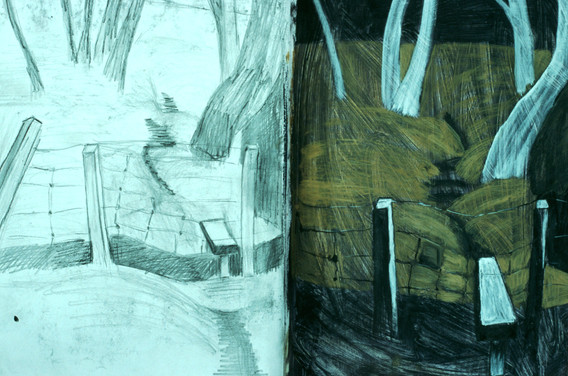 Sketchbook drawing and colour study