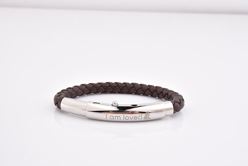 Stainless Clasp/Brown Leather -child