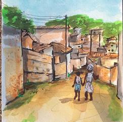 """Ilustração para capa do livro """"Vozes Negras em Florianópolis: Escrevivências Antropológicas do Morro das Mulheres"""" de Cauane Gabriel Azevedo Maia"""