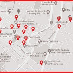 Mapa de onde encontrar as pinturas de brunobarbi na cidade de Florianópolis.