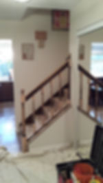 Interior stair paintng before
