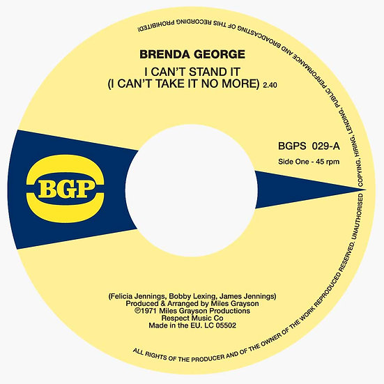 Brenda George ‎– I Can't Stand It (I Can't Take It