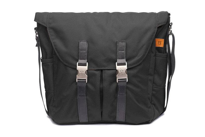 DJ Cosmo Baker North to South Messenger Bag with leather trim and a lifetime war