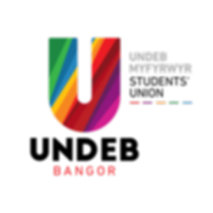 Undeb Bangor (Bangor University Students Union) logo. Large U with coloured stripes representing the students union's branches