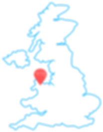 Outline of United Kingdom showing location of Bangor Universiy in north east Wales with a UniBrass branded pointer