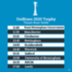 UniBrass trophy timetable showing times for performances in Theatr Bryn Terfel: 11am Royal Birmingam Conservatoire; 11:35 Manchester; 12:10 Chichester; 12:45 Nottingham; 14:05 Huddersfield; 14:40 Warwick; 15:15 Salford; 15:50 Birmingham; 16:25 RNCM; 17:00 Leeds