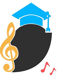 UniBrass Shield Logo, a black shield with a yellow treble clef on the left, and UniBrass Mortarboard hat at the top