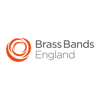 Brass Bands England logo, a series of curves forming a petal structure with Brass Bands England in text to right