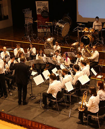 Photo of brass band performing at a UniBrass contest hosted at Lancaster University