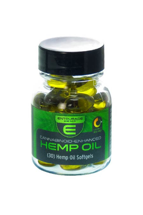 30 Hemp Oil Softgels: 450mg Total Cannabinoids.