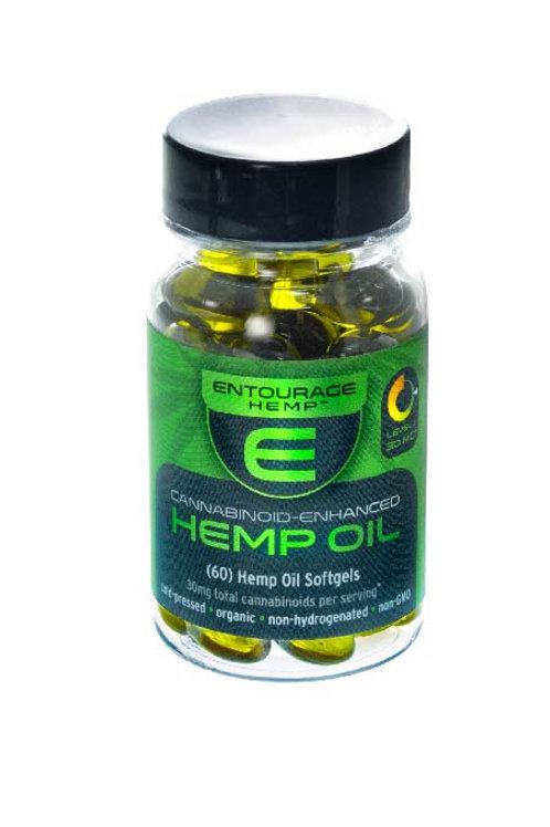 60 Hemp Oil Softgels: 900mg Total Cannabinoids.