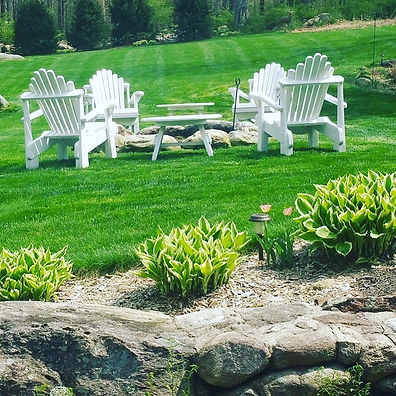 Adirondack Lawn Chairs around Firepit