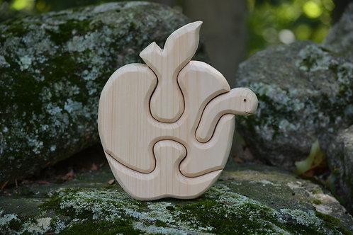 Apple with Worm -Handmade Children's Puzzle