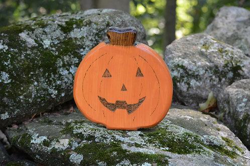 Wooden Hand Burned Pumpkin