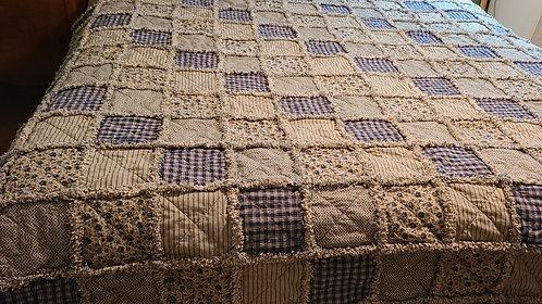 Primitive Rag Quilt, Blue & Tan Rag Quilt