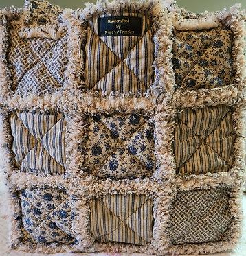 Rag Quilt Tote Bag, Rag Quilt Diaper Bag, Primitive, Tea Stained, Tea Dyed