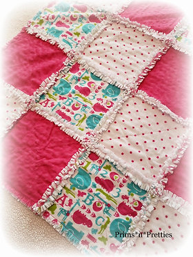 Pink White Teal Lime Flannel Minky Dot Chenille Rag Quilt