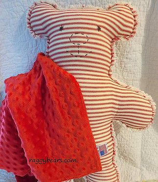 LRG Raggy Bear #2 Red Ticking Chenille Blanket