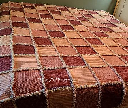 Primitive Rag Quilt, Red & Tan