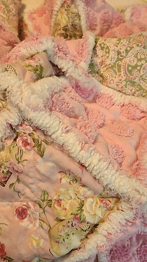 Baby Rag Quilt, Pink Roses Big Dot Chenille