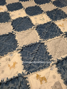 Baby Blue Minky Dot Chenille, Woodland Creatures Rag Quilt