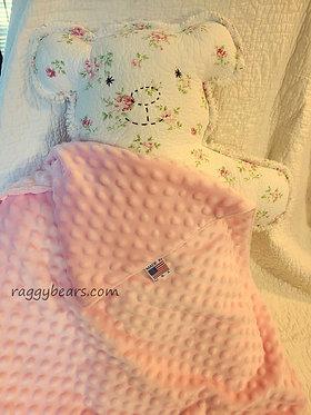 LRG Raggy Bear #7 Red Roses on White w/ Blanket